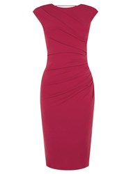 Oasis Rouched Stretch Pencil Dress Rich Red