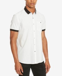 Kenneth Cole Reaction Men's Contrast Trim Short Sleeve Shirt White Combo
