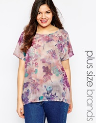 Junarose Short Sleeve Boxy Floral Slinky Top Pinkfloral