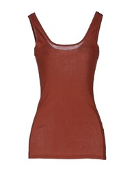 Jucca Topwear Sleeveless T Shirts Women Brown