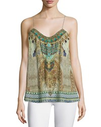 Camilla Shoestring Strap Embellished Tank Granada Dream Women's Size 1