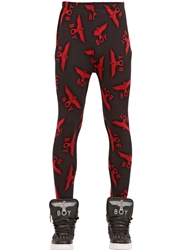 Boy London Boy Printed Stretch Cotton Leggings Black Red