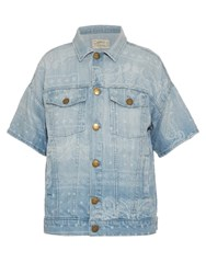 Current Elliott Bandana Print Short Sleeved Denim Jacket
