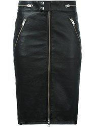 Diesel Zipped Leather Skirt Black