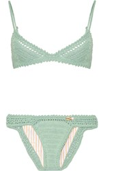 She Made Me Crocheted Cotton Triangle Bikini Gray Green