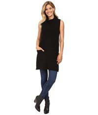 Vince Camuto Sleeveless Turtleneck Two Pocket Boucle Sweater Tunic Rich Black Women's Sweater