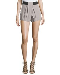 Ramy Brook Bobby Pleated High Waist Shorts Mineral Gr