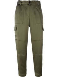 Theory Cropped Trousers Green