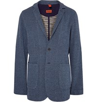 Missoni Blue Zigzag Knit Cotton Blazer Blue