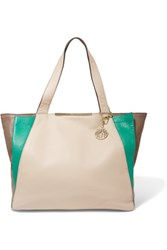 Dkny Color Block Textured Leather Tote Jade