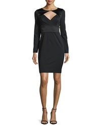 Halston Long Sleeve Fitted Cocktail Dress Black