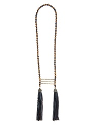 Zeus Dione Tiger Eye Stone And Leather Tassel Necklace