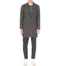 Ami Alexandre Mattiussi Woven Chevron Wool Blend Coat Grey