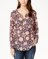 Lucky Brand Printed Button Down Peasant Shirt Navy Multi