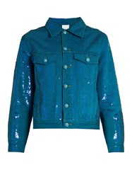 Ashish Sequin Embellished Denim Jacket Blue