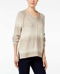 Styleandco. Style Co. V Neck Striped Sweater Only At Macy's Neutral Combo