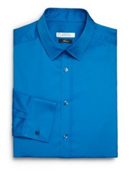 Versace Solid Cotton Dress Shirt Bright Aqua