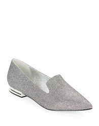 Adrianna Papell Taylor Point Toe Smoking Flats Gunmetal