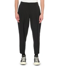 Comme Des Garcons Cropped Regular Fit Wool Trousers Black