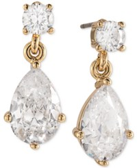 Carolee Gold Tone Teardrop Glass Drop Earrings
