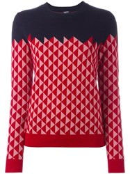 Jil Sander Navy Triangle Pattern Jumper Blue