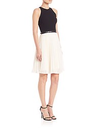 Halston Belted Colorblock Pleated Dress Eggshell