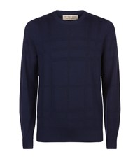 Burberry Lightweight Woven Check Sweater Male Navy