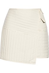 Tibi Juna Wrap Effect Quilted Silk Mini Skirt White