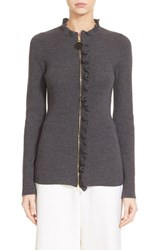 Women's Marni Ruffle Trim Zip Up Wool Sweater