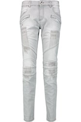 Balmain Pierre Mid Rise Skinny Jeans Light Gray