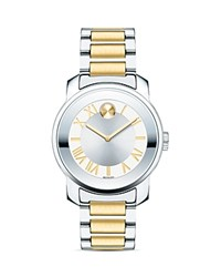 Movado Bold Two Tone Mirror Finish Bezel Watch 32Mm Silver Gold
