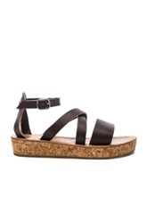 K Jacques Leather Thoronet Platform Sandals In Brown