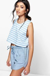 Boohoo Raw Edge Striped Crop Sweat Blue