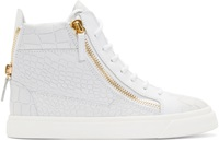 Giuseppe Zanotti Gray Croc Embossed High Top Sneakers