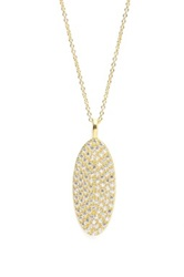Sugar Bean Jewelry Pave Oval Pendant Necklace Metallic
