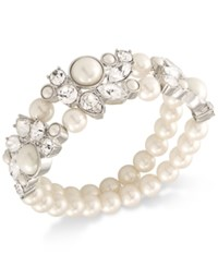 Carolee Silver Tone Imitation Pearl And Crystal Double Row Stretch Bracelet