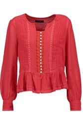 Isabel Marant Randal Embellished Cotton Gauze Blouse Red