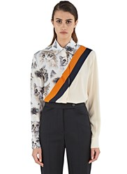 Stella Mccartney Silk Cat Print Shirt Neutrals