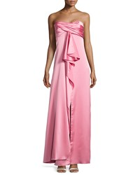 Halston Heritage Pleated Strapless Satin Gown Rose Pink