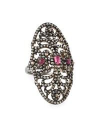 Bavna Cutout Oval Pink Tourmaline And Diamond Cocktail Ring Women's