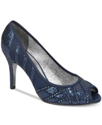 Adrianna Papell Flair Peep Toe Evening Pumps Women's Shoes Navy