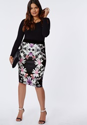 Missguided Plus Size Floral Print Midi Skirt