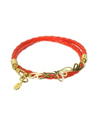Sho London Mari Fiendship Silver Vermail And Leather Double Bracelet