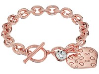 Guess Logo Heart Toggle Bracelet Rose Gold Crystal Bracelet