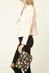 Forever 21 Don't Touch Happy Face Clutch Black Multi