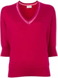 Lanvin V Neck Sweater Pink And Purple