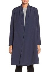 Eileen Fisher Women's Lightweight Shawl Collar Organic Cotton Blend Long Coat Midnight