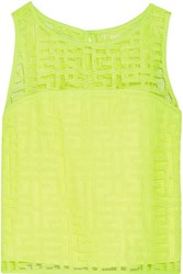 Milly Neon Cropped Embroidered Mesh Top Bright Yellow