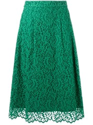 Muveil Lace Midi Skirt Green
