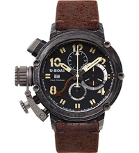 U Boat 7177 Carbon And Leather Chronograph Watch